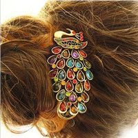 New Hot Retro Fashion Ladies Vintage Colorful Rhinestone Peacock Barrette Hairpin Hair Clip Jewelry Hair Accessories