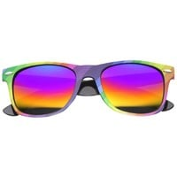 Party Rainbow Horned Rim Mirrored Lens Sunglasses 9499