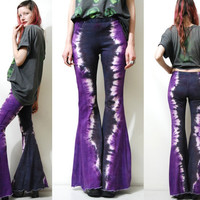 TIE DYE Flares BELLS Bell Bottom Pants Purple Dark Grey Black Bohemian Hippie Grunge Rocker Festival ooak Handmade xs s