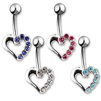 Belly Ring-Crystal Heart