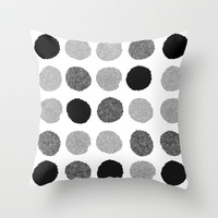 Yves - greyscale monochrome minimal pattern dots art print cell phone case for modern decor Throw Pillow by CharlotteWinter