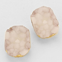 Cluster Crystal Gold White Stud Earrings