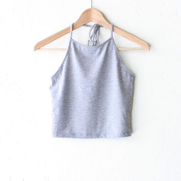 Halter Crop Top - Heather Grey