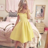 Off The Shoulder Sleeveless Vintage Party Dress -5 Color Options-