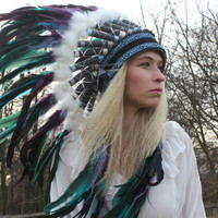 Feather and leather costume headdress