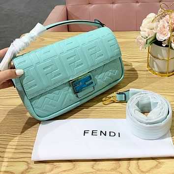 FENDI High Quality Women Fashion Leather Handbag Shoulder Bag Crossbody Satchel Mint Green