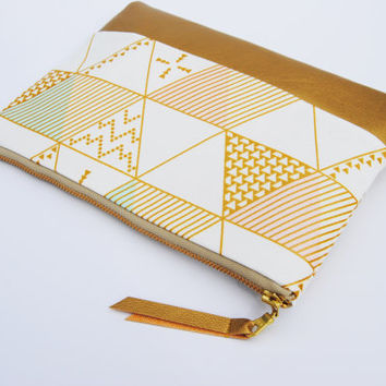 Gold geometric clutch, Triangle zipper pouch, Aztec print bag, gold makeup bag, jewelry bag, bridesmaid gifts, gift idea, girly tote