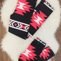 Mommy & Me Black and Coral Aztec Leggings
