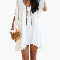 Long Ripped Cuff Sleeve V-Neck Mini Dress