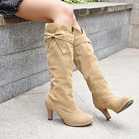 Bowtie Knee High Boots High Heels Artificial Suede Shoes Woman 3309 3309