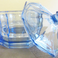 Antique Blue Glass Dish with Lid Jewelry Box Candy Dish Storage Decor