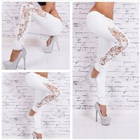 Women Jeans Patchwork Lace Floral Skinny Jeans Hollow out Casual trousers 2016 women   Denim Pencil Pant High Waist sexy Pants