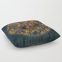 Vintage Constellations & Astrological Signs | Purple Galaxy Floor Pillow by Visionary Sea