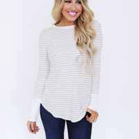 Oatmeal Striped/Button Back Top