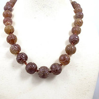 Antique Chinese Bead Necklace. Chinese Carved Carnelian Agate Shou Bead Necklace. Good Luck Good Fortune. Chinese Export Jewelry.