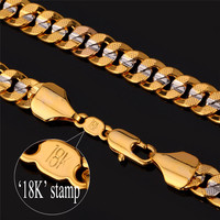 Hiphop Gold Chains For Men Fashion Jewelry Kpop Choker 18'' 22'' 26'' 6MM 18K Gold Plated Two Tone Cuban Chain Necklace N828