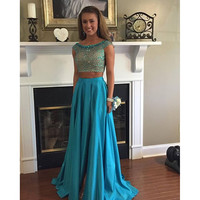 Two Piece Cap Sleeve Beading Prom Dresses
