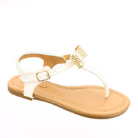 White & Gold Bow Sandal | something special every day