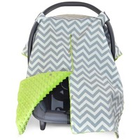 Kids N' Such 2 in 1 Car Seat Canopy Cover with Peekaboo Opening™ - Large Chevron Carseat Cover with Lime Green Dot Minky | Best for Baby Girls and Boys | Doubles as a Nursing Cover for Breastfeeding - Walmart.com