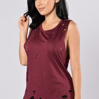 Get Ripped Tank Top - Burgundy