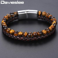 Davieslee Tiger Eye Stone Mens Beads Bracelet Brown Genuine Leather Bracelets For Men 2018 Jewelry Magnetic Clasp 6mm DDLB101