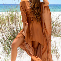 Time Stands Still Camel Kimono Dress