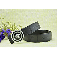 Silver Buckle With Free Coffee Leather Versace Head Embossed Belt Brand New On Sale