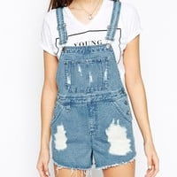 ASOS TALL Denim Dungaree Short in Vintage Mid Wash With Raw Hem