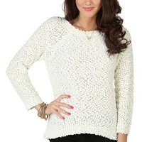 Three Quarter Sleeve High Low Sweater with Keyhole and Tie Back