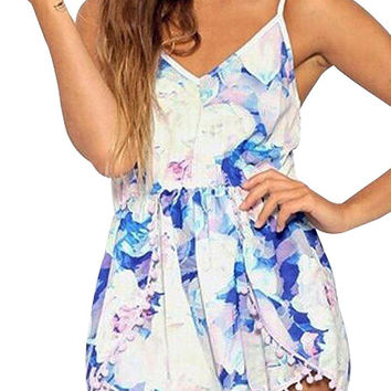 White Romper With Butterfly Pom Pom Trims In Floral Print