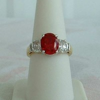 Lind Red CZ Oval Cut Ring Size 8 Cocktail Ring Heavy Goldplated 1980s Vintage Jewelry