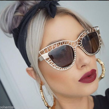 Oversized Cutout Cat Eye Sunglasses Vintage Pointy Cateye Frames - Jade Cage