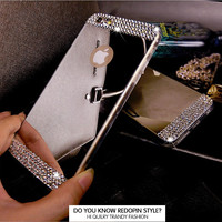 Fahison Rhinestone TPU Silicone Soft Woman Mirror Phone Case Back Cover For Apple iPhone 6 6S / Plus / 5 5S SE Phone Case