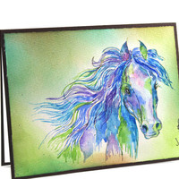OOAK-Original Handpainted, Watercolor Card, Painting Horse, Art, Wild Horse, For him, For Her, For Friend, Greeting Card, Cardamoms Art, Art