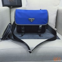HCXX 19Aug 942 43Prada Fashion Flap Zipper Saffiano Leather Nylon Cloth Messenger Bag 26-19-10cm