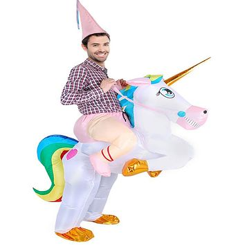 Adult Inflatable Unicorn Costume Halloween Costume For Women Men Party Fantasia Fancy Dress Inflatable Suit Jumpsuit (One Size)