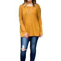 Authentic Piko Long Sleeve Top, Mustard