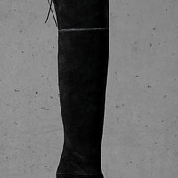 Black Suede Express Edition Thigh High Boot from EXPRESS