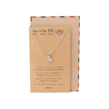 Fallon Year of the Ox Animal Jewelry Gifts for Family with Chinese Zodiac Sign Quotes on Greeting Card