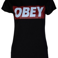 Obey Casual Tee / Black - Womens Clothing Sale, Womens Fashion, Cheap Clothes Online | Miss Rebel