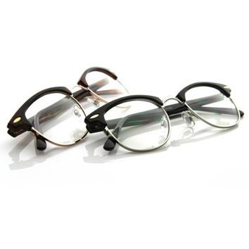 Optical Quality Horned Rim Clear Lens RX'able Half Frame Club Master Glasses