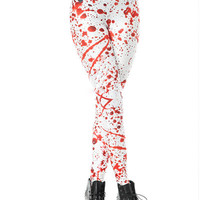 Red Splashed Ink Print Leggings