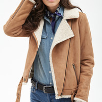 FOREVER 21 Faux Suede Aviator Jacket Camel/Cream