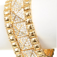 Pyramid Crystal Bracelet with Gold Border