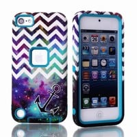 MagicSky Plastic + TPU Chevron with Anchor on Galaxy Pattern Tuff Dual Layer Hybrid Armor Case for Apple iPod Touch 5 5th Generation - 1 Pack - Retail Packaging - Teal
