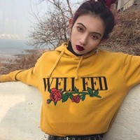 WELL FED Women Fashion Rose Long Embroidery Sleeve Top Sweater Pullover Hoodie