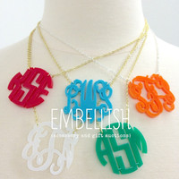 MONOGRAM ACRYLIC NECKLACE IN 15 COLOR OPTIONS!