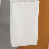 "Doorknob Hanging Canvas Laundry Hamper (White) (27""H x 16.5""W x 6""D)"