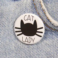Cat Lady 1.25 Inch Pin Back Button Badge