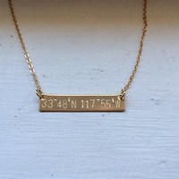 Latitude longitude bar necklace, coordinates necklace, gold bar necklace, bridesmaid gift, personalized jewelry, metal stamped, nautical